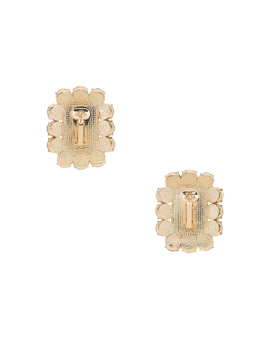 Image 4 of Ninon Square Crystal Earrings in Fuchsia & Emerald