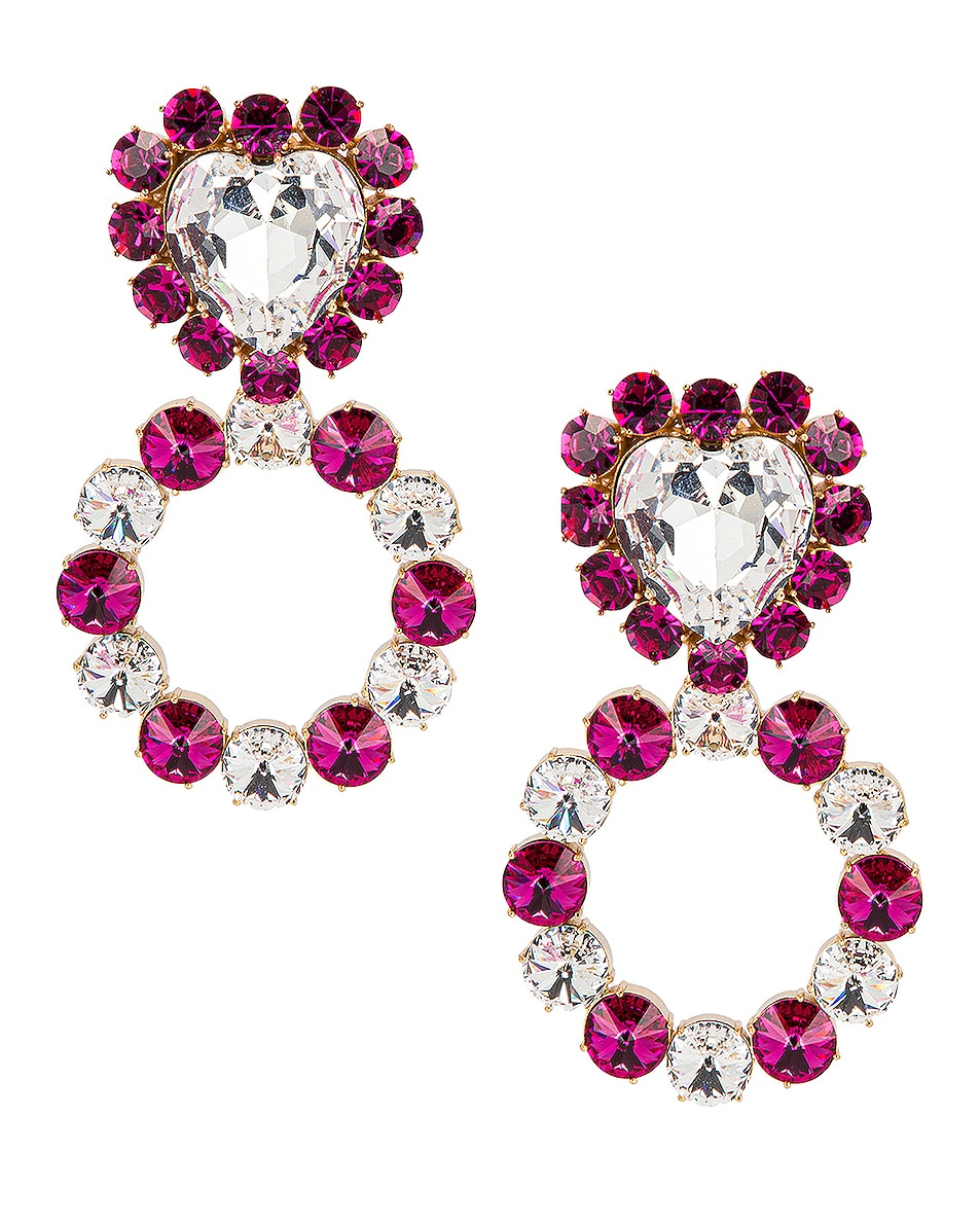 Image 1 of Ninon Queen of Hearts Crystal Earrings in Fuchsia