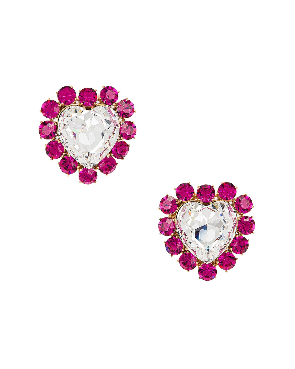 Image 3 of Ninon Queen of Hearts Crystal Earrings in Fuchsia