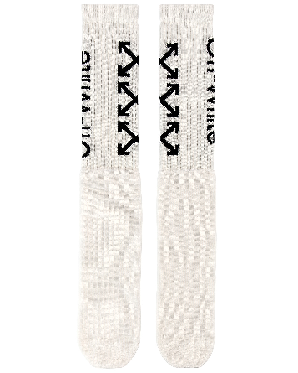 Image 1 of OFF-WHITE Arrows Socks in White & Black
