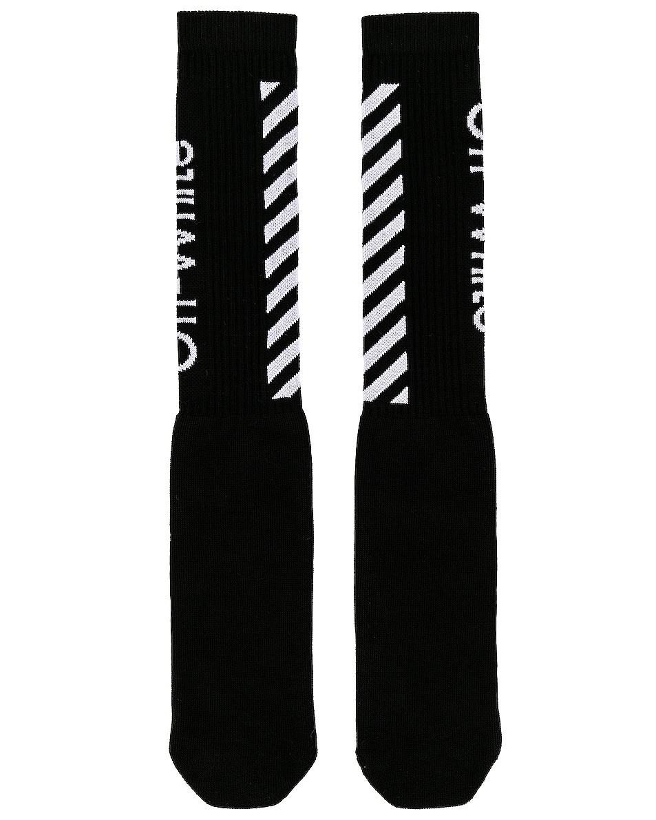 Image 2 of OFF-WHITE Diag Mid Length Socks in Black & White