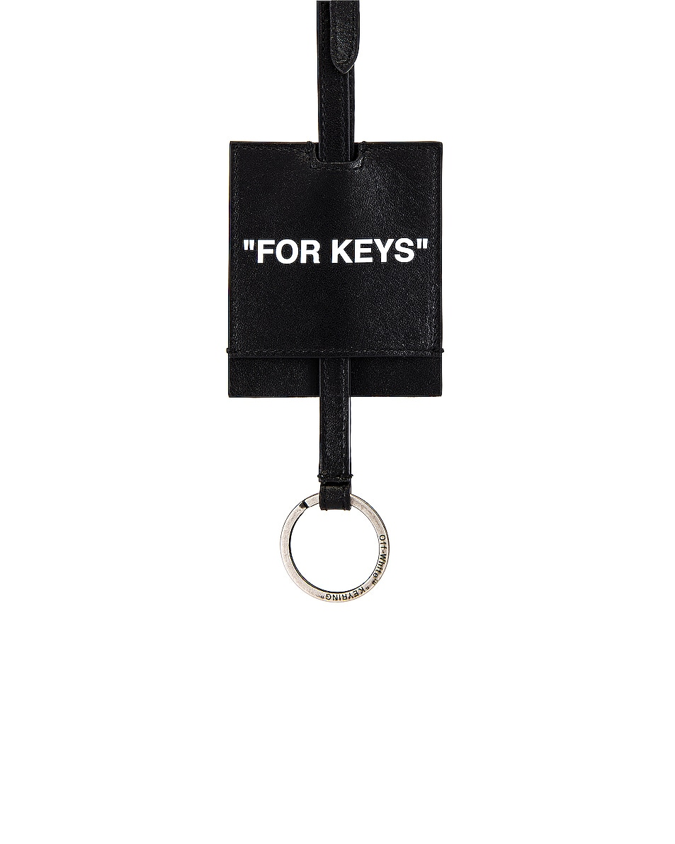 Image 4 of OFF-WHITE Quote Key Holder Necklace in Black & White