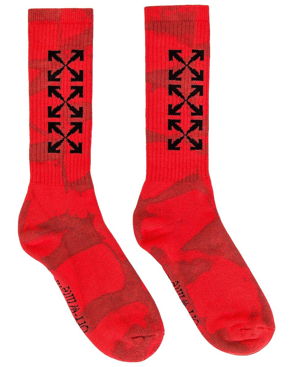 Image 1 of OFF-WHITE Tie Dye Socks in Fiery Red