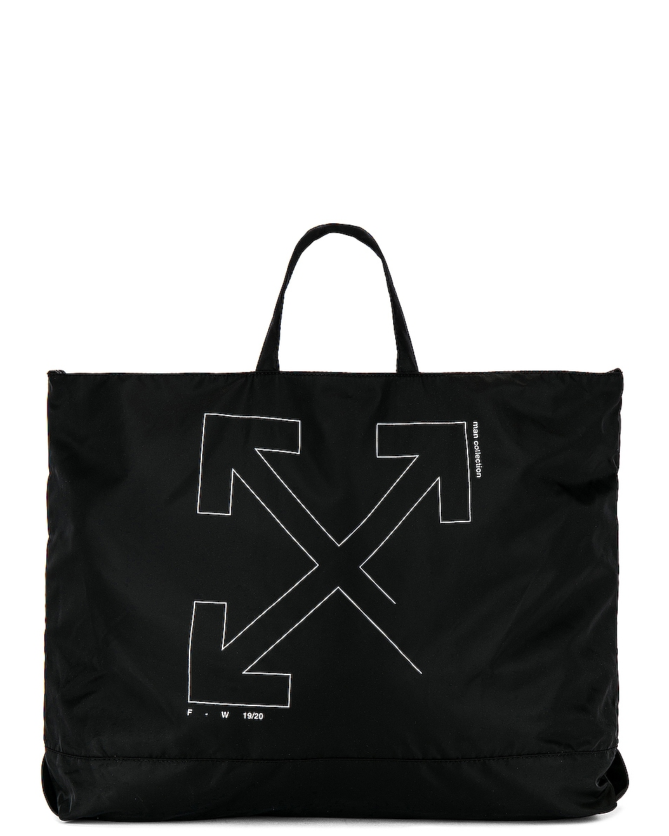 Image 1 of OFF-WHITE Unfinished Tote Bag in Black & Silver