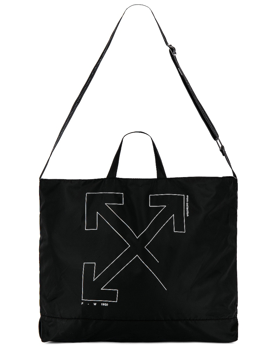 Image 5 of OFF-WHITE Unfinished Tote Bag in Black & Silver