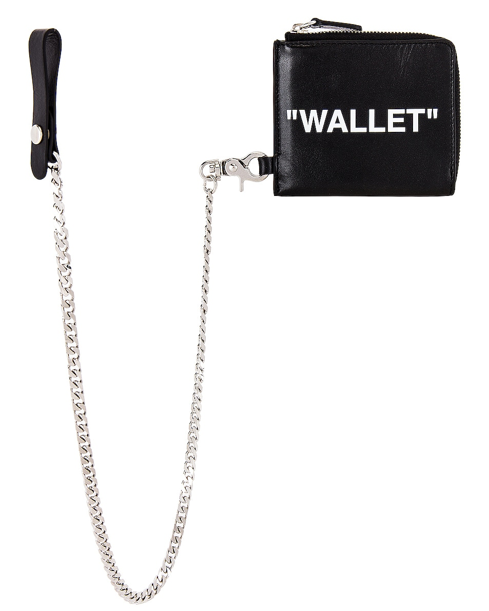 Image 1 of OFF-WHITE Quote Chain Wallet in Black