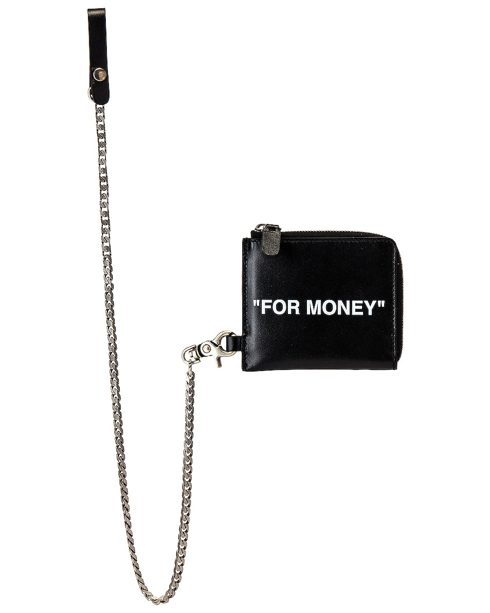 Image 1 of OFF-WHITE Quote Chain Wallet in Black & White