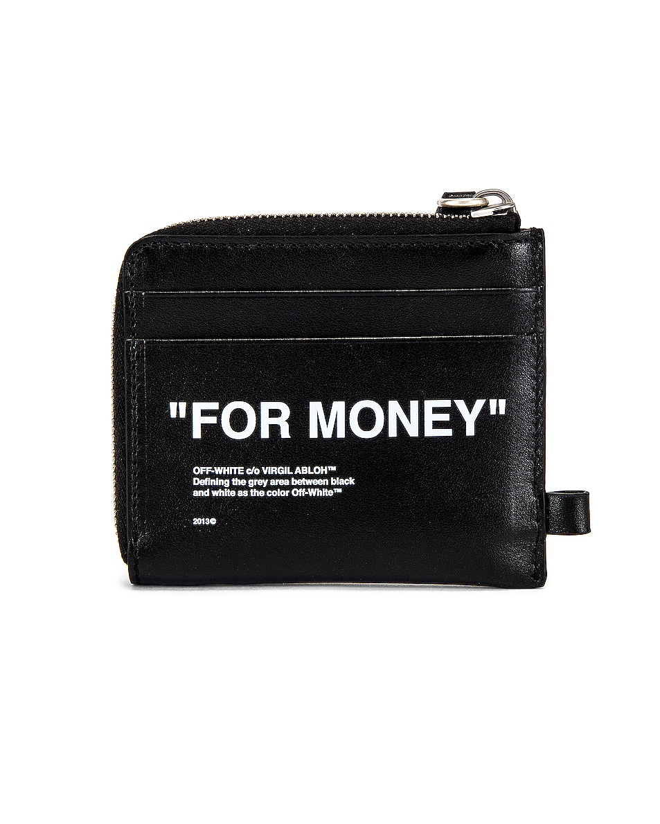 Image 3 of OFF-WHITE Quote Chain Wallet in Black & White