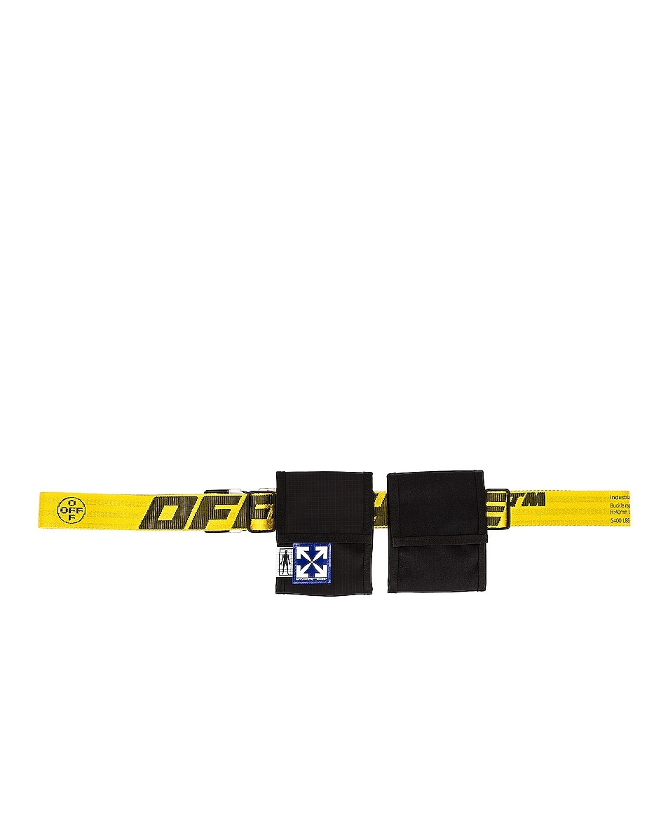 Image 1 of OFF-WHITE EQ Two Pocket Fanny Pack in Black & Yellow