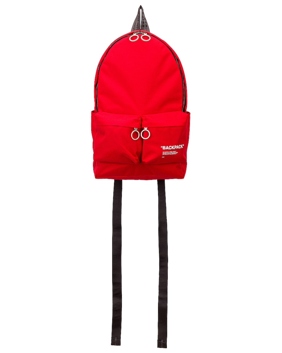Image 1 of OFF-WHITE Quote Backpack in Red & Black
