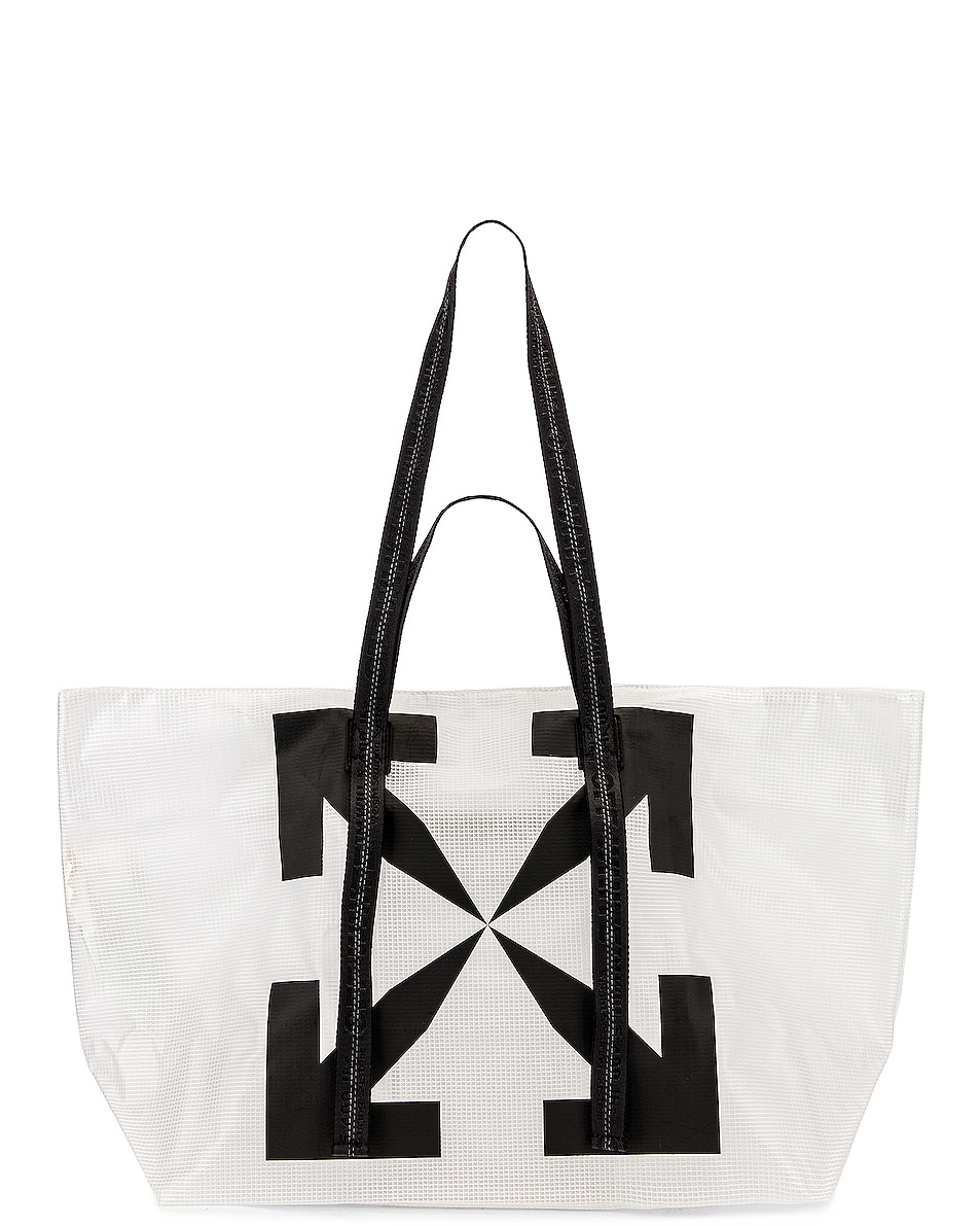 Image 1 of OFF-WHITE Arrow PVC Tote Bag in White & Black