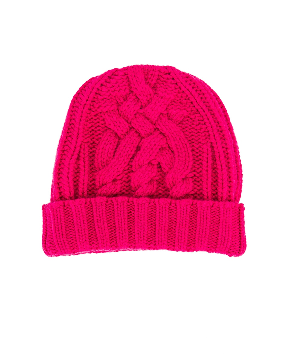 Image 2 of OFF-WHITE Knit Pop Color Hat in Fuchsia