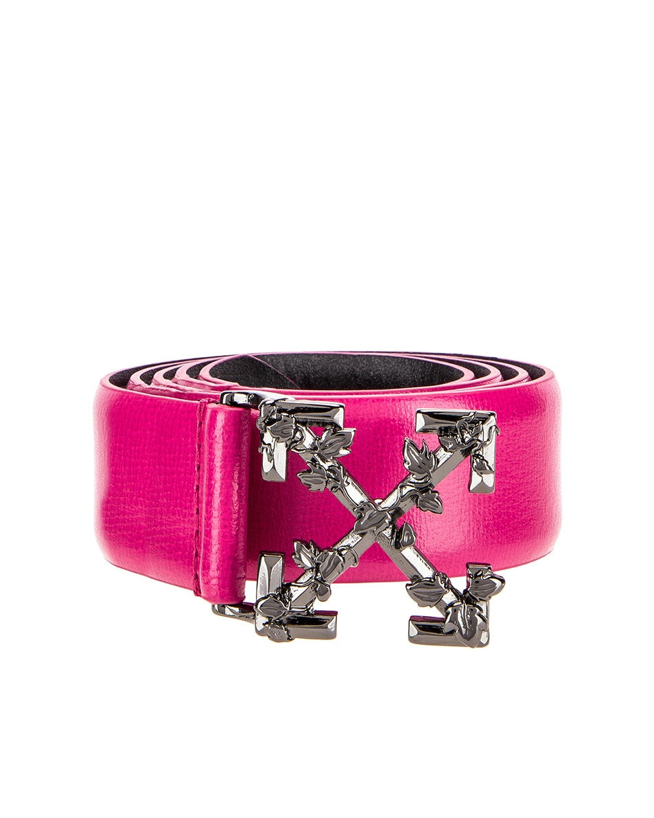 Image 1 of OFF-WHITE Leather Industrial Belt in Fuchsia