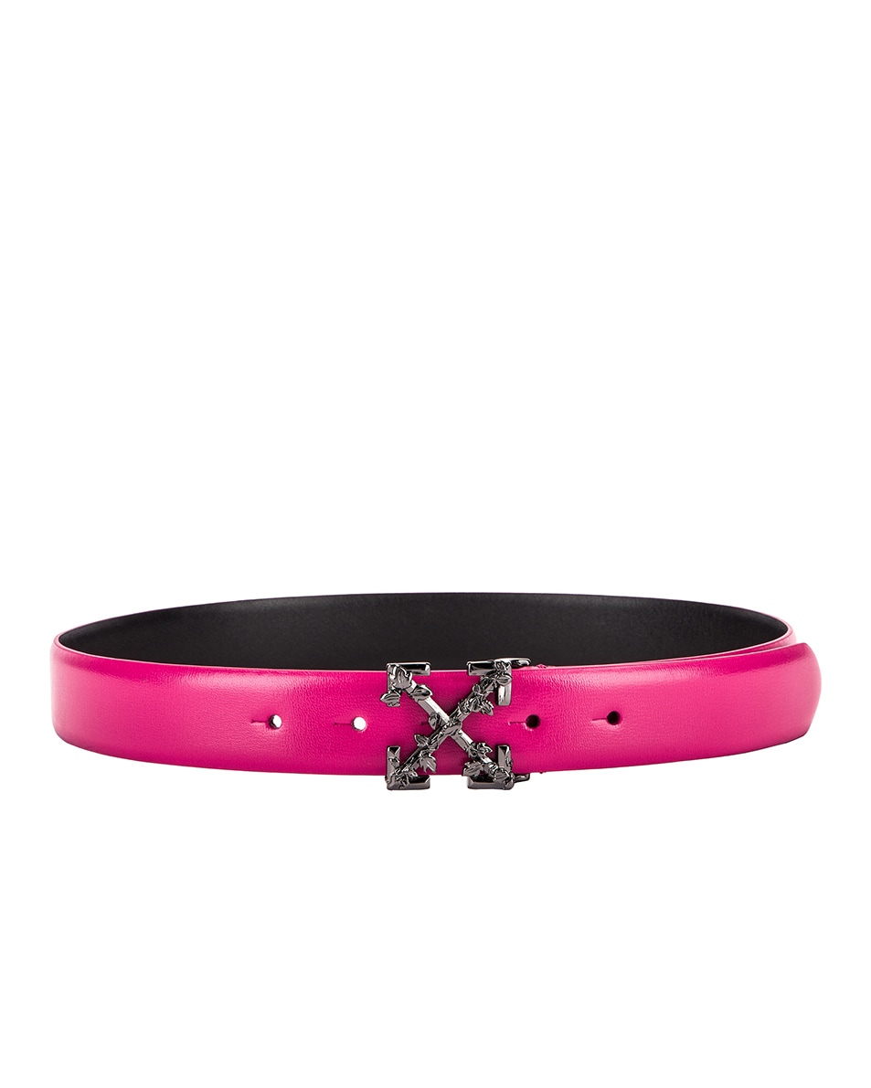 Image 2 of OFF-WHITE Leather Industrial Belt in Fuchsia