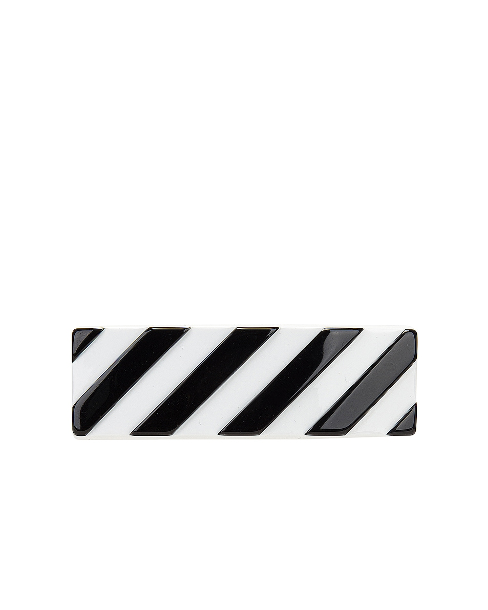 Image 1 of OFF-WHITE Diag Hair Clip in White & Black