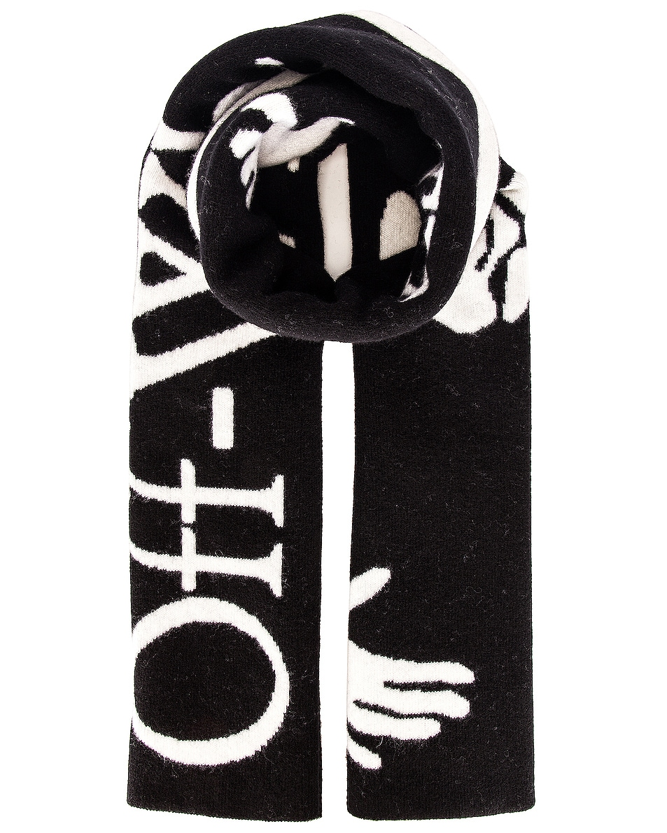 Image 1 of OFF-WHITE Logo Felted Wool Scarf in Black & White
