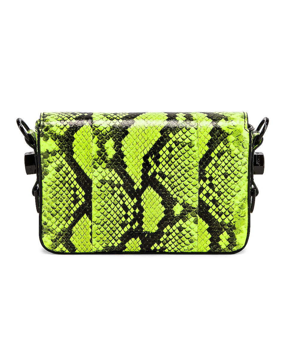 Image 3 of OFF-WHITE Python Mini Flap Bag in Fluo Yellow