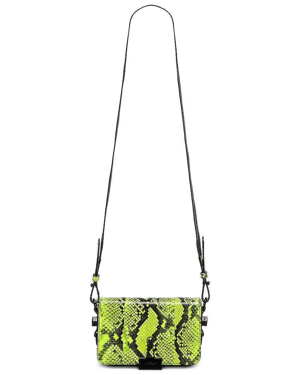 Image 6 of OFF-WHITE Python Mini Flap Bag in Fluo Yellow