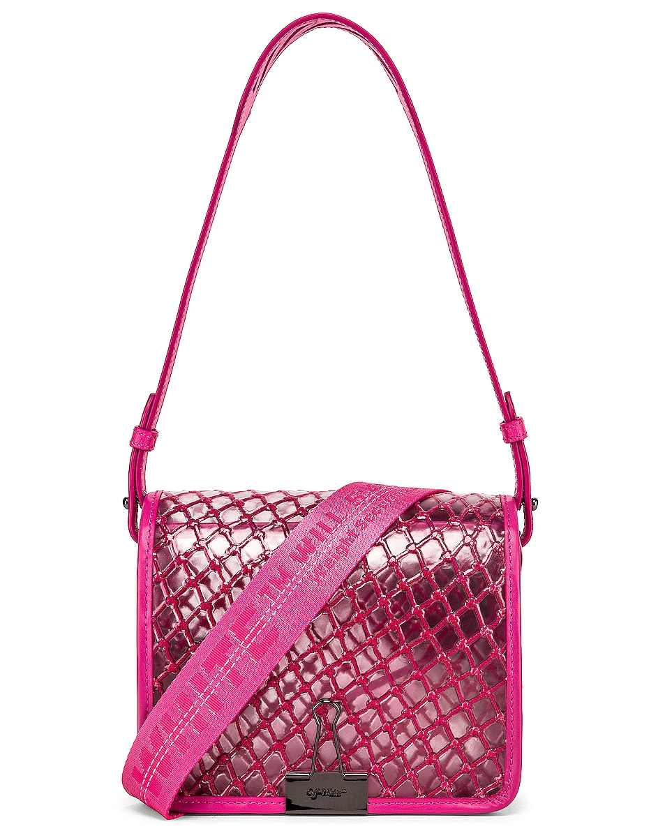Image 1 of OFF-WHITE PVC Net Flap Bag in Fuchsia