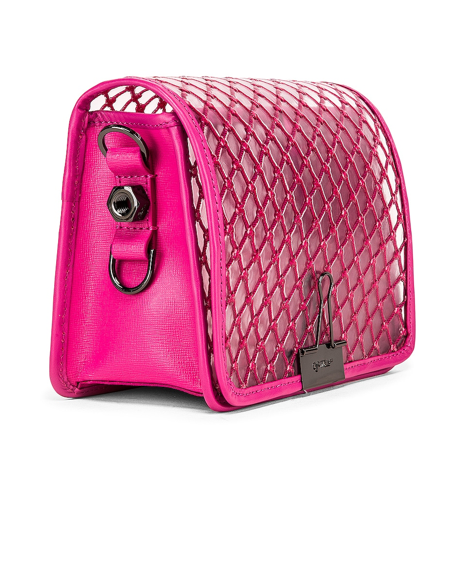 Image 4 of OFF-WHITE PVC Net Flap Bag in Fuchsia