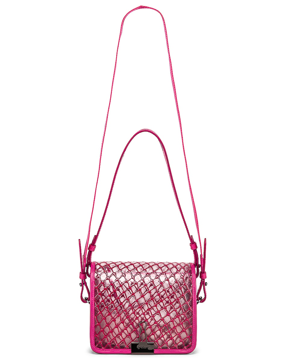 Image 6 of OFF-WHITE PVC Net Flap Bag in Fuchsia