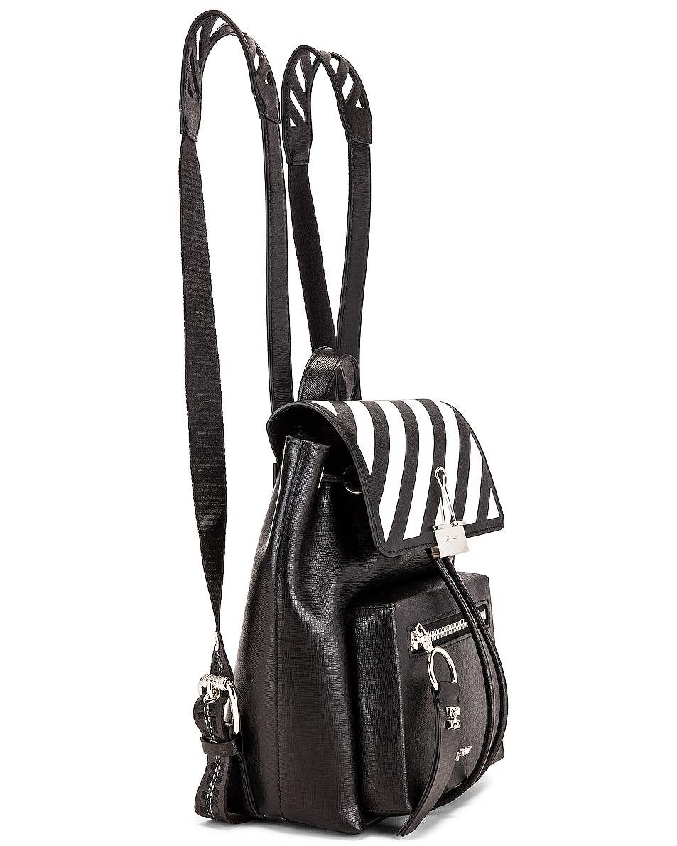 Image 4 of OFF-WHITE Diagonal Mini Backpack in Black & White