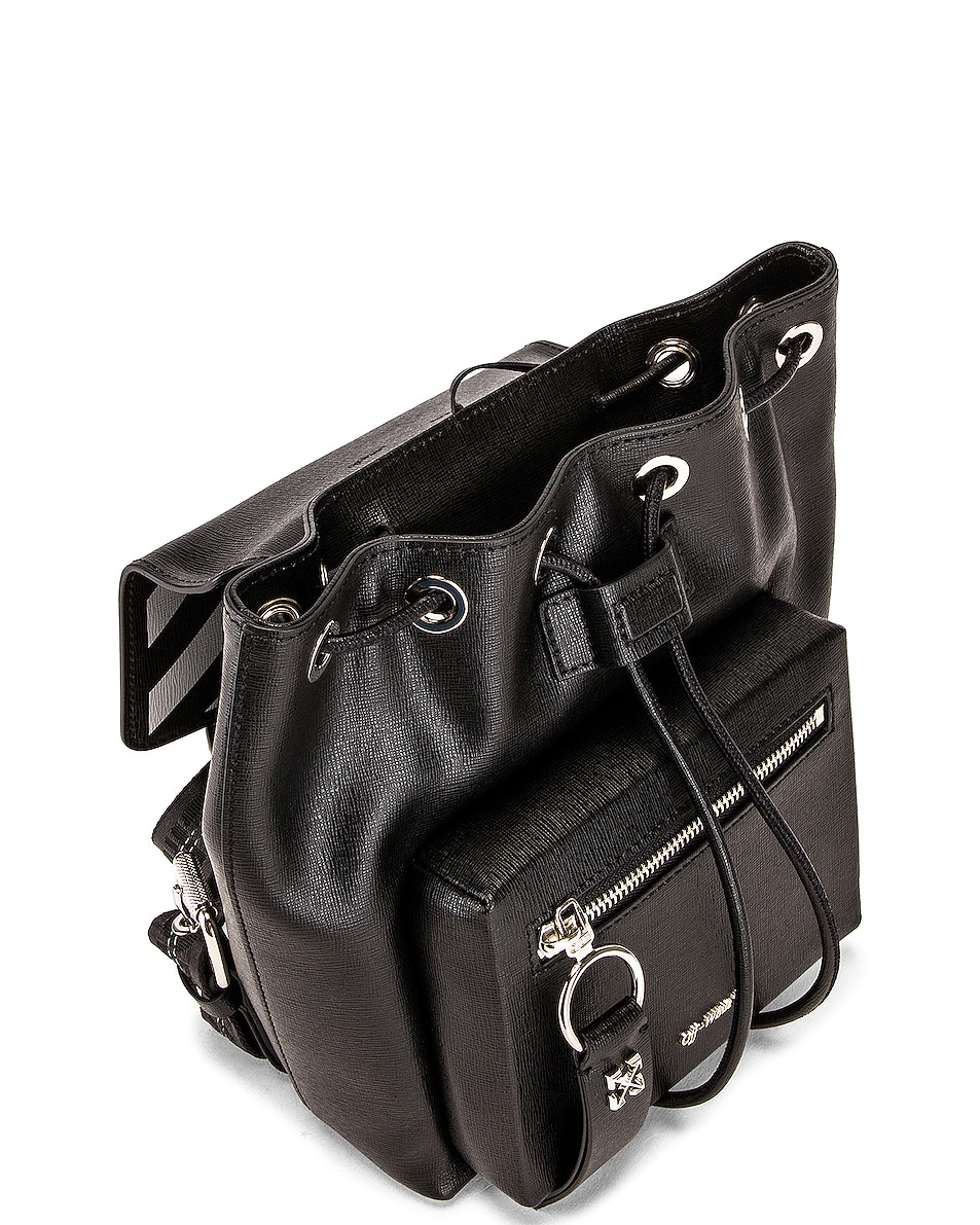 Image 5 of OFF-WHITE Diagonal Mini Backpack in Black & White