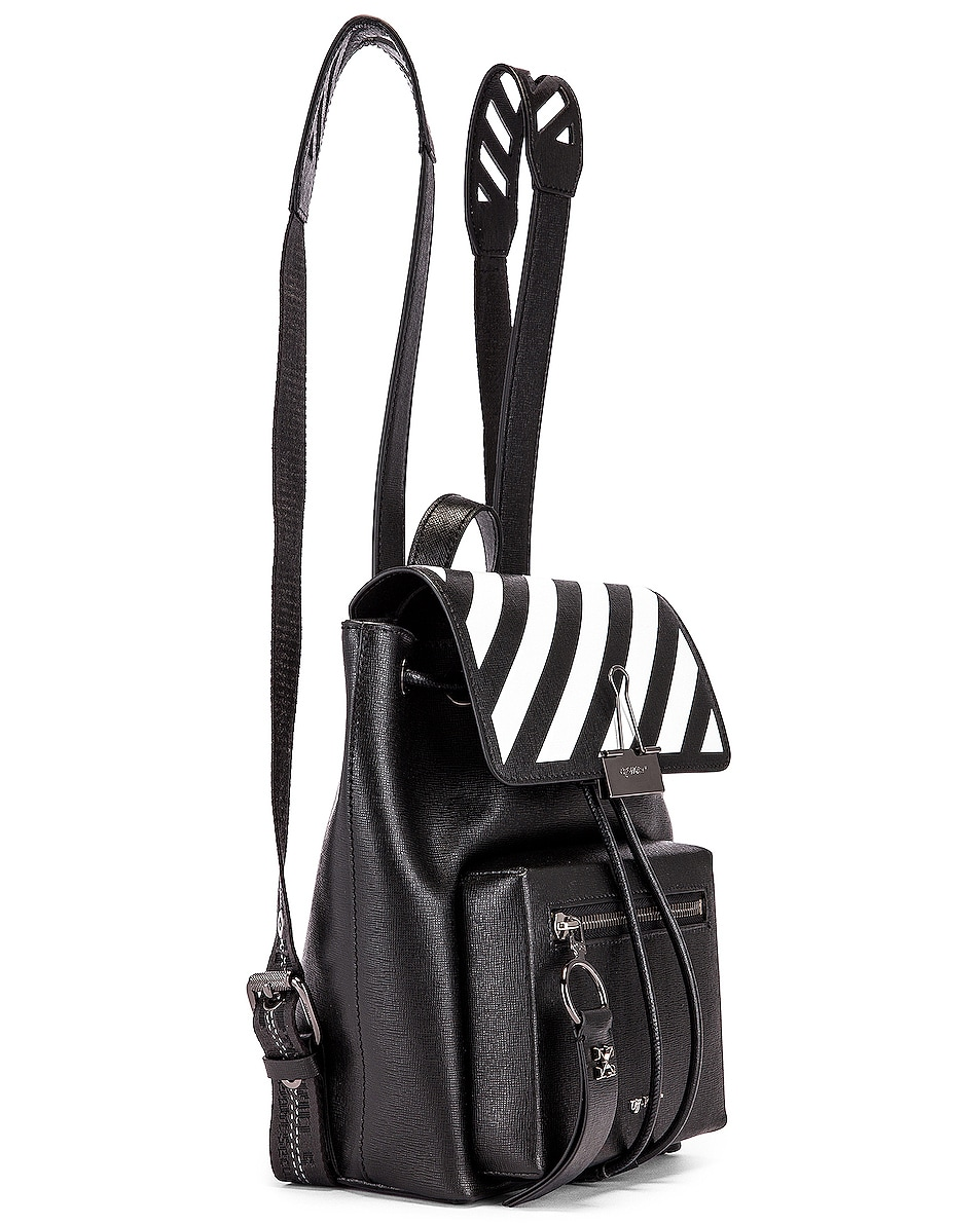 Image 4 of OFF-WHITE Diagonal Binder Backpack in Black & White