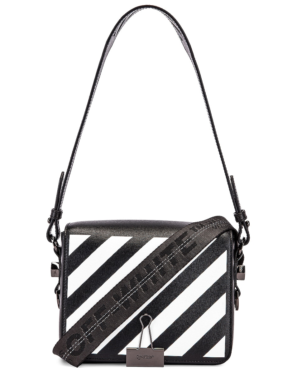 Image 1 of OFF-WHITE Diagonal Flap Bag in Black & White