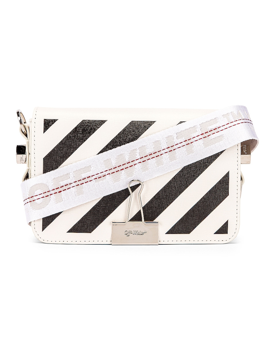 Image 1 of OFF-WHITE Diagonal Mini Flap Bag in White & Black