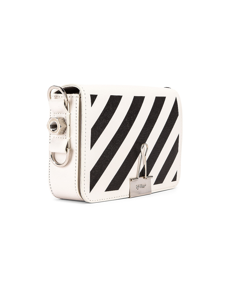 Image 4 of OFF-WHITE Diagonal Mini Flap Bag in White & Black