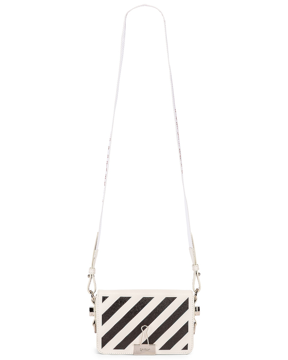 Image 6 of OFF-WHITE Diagonal Mini Flap Bag in White & Black