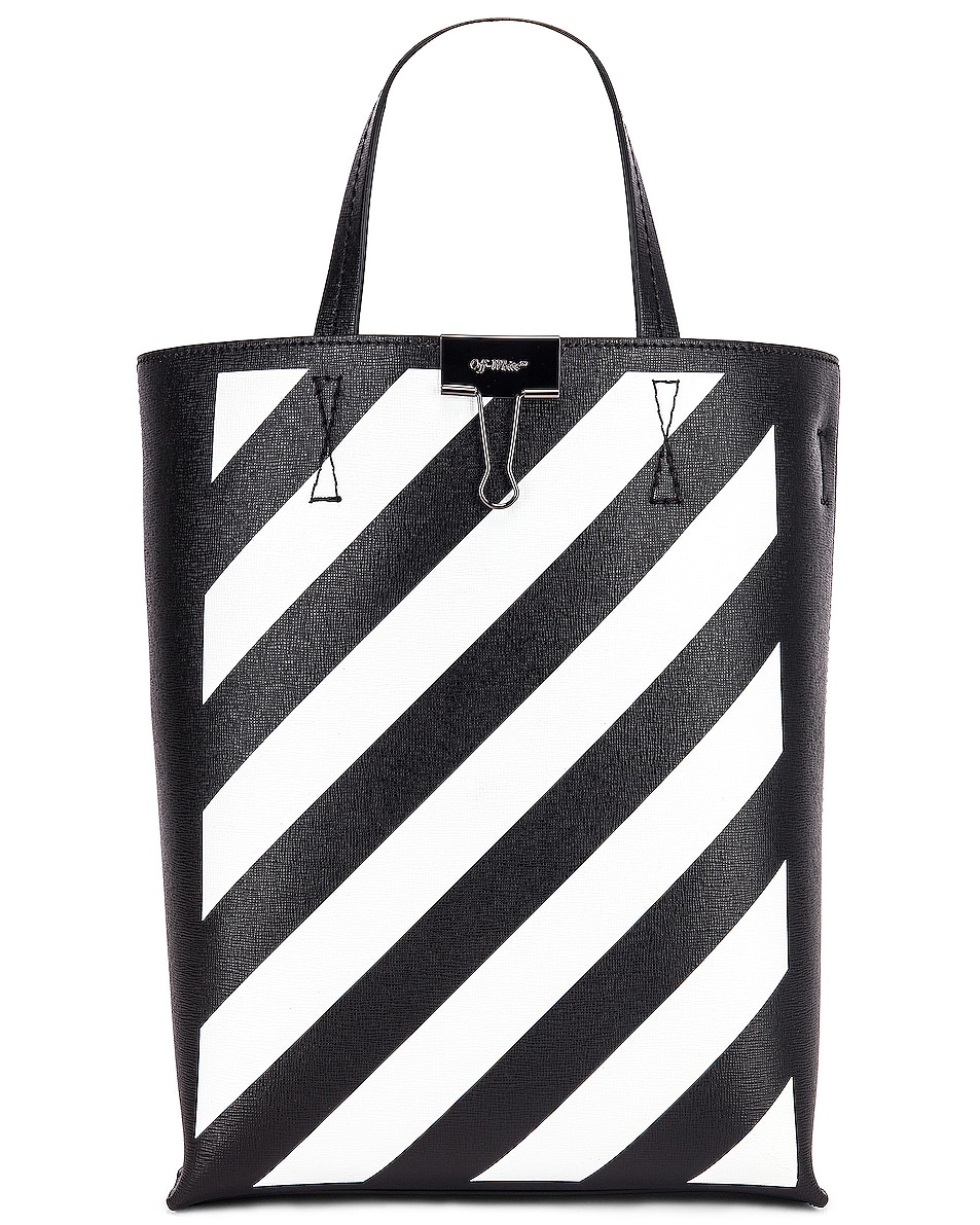Image 1 of OFF-WHITE Diagonal Tote Bag in Black & White