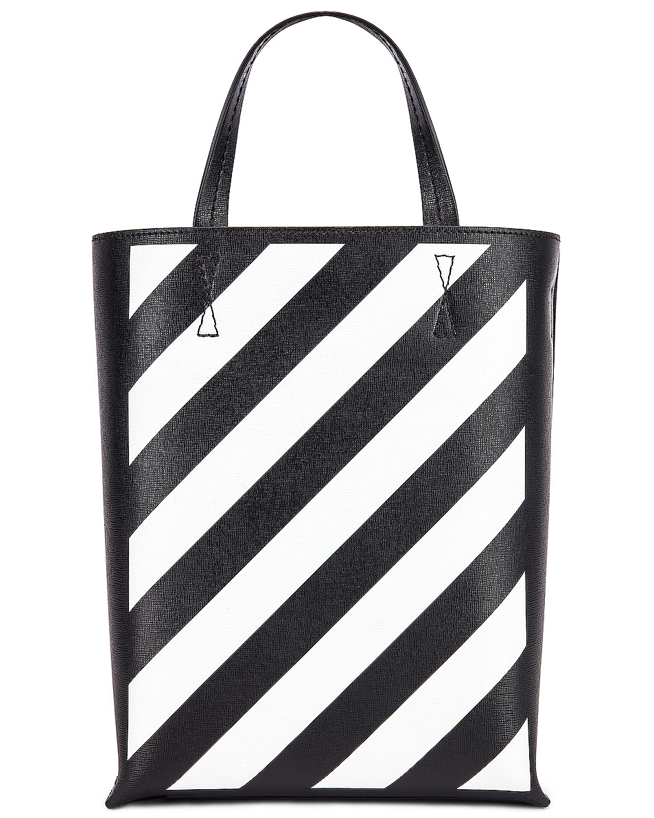 Image 3 of OFF-WHITE Diagonal Tote Bag in Black & White