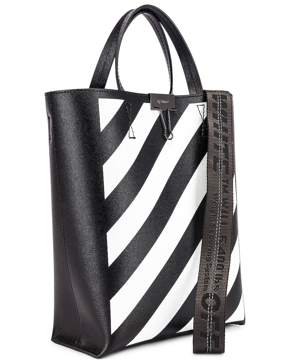 Image 4 of OFF-WHITE Diagonal Tote Bag in Black & White