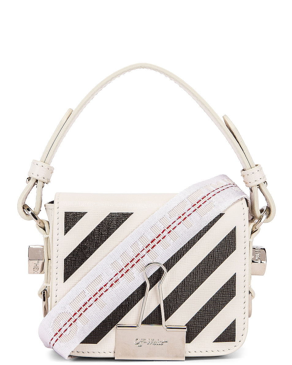 Image 1 of OFF-WHITE Diagonal Baby Flap Bag in White & Black