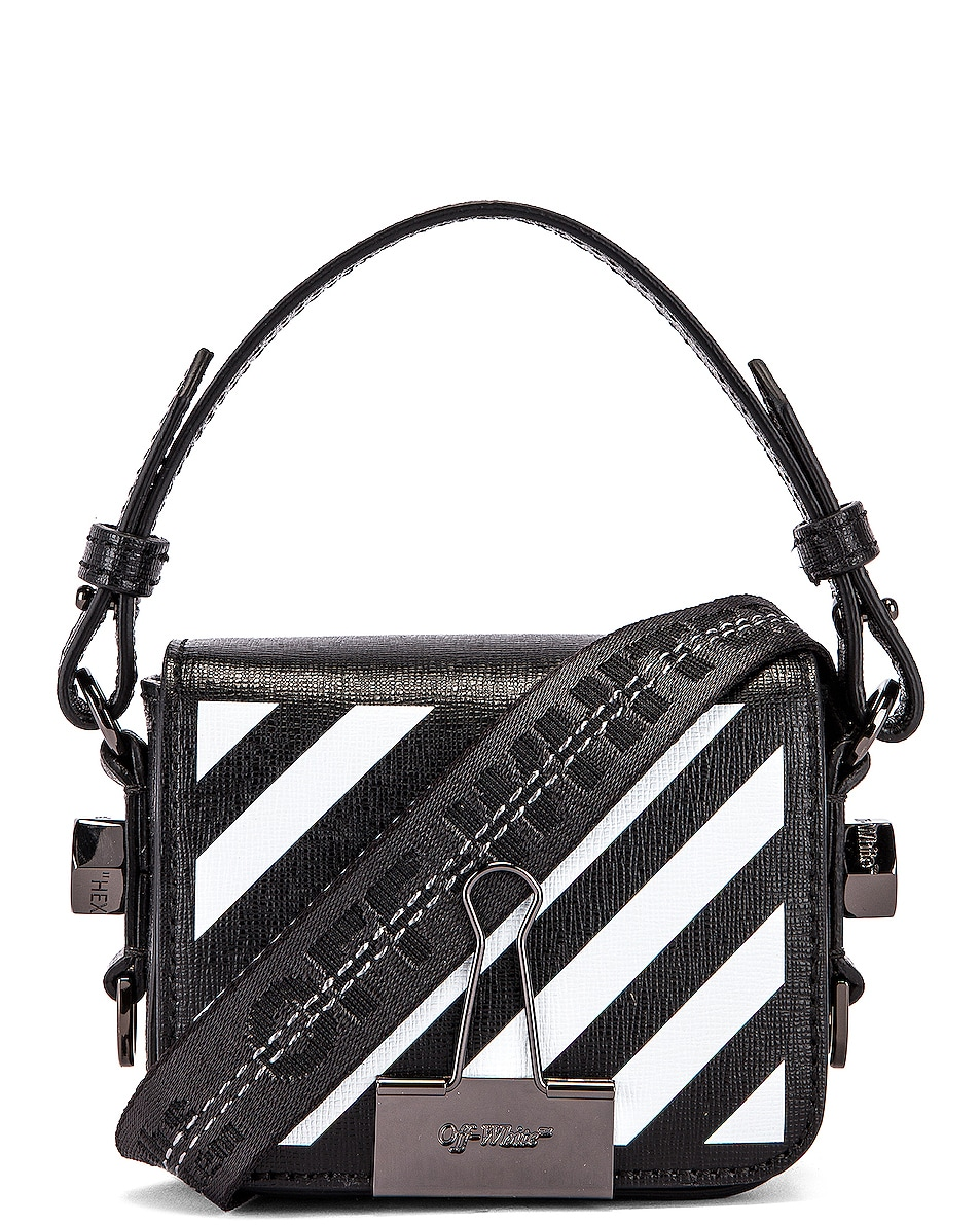 Image 1 of OFF-WHITE Diagonal Baby Flap Bag in Black & White