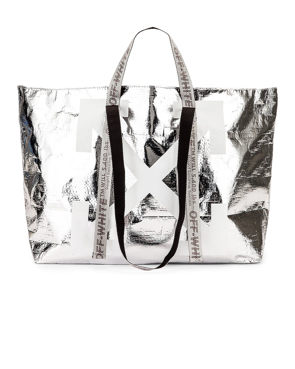 Image 1 of OFF-WHITE New Commercial Tote Bag in Silver & White