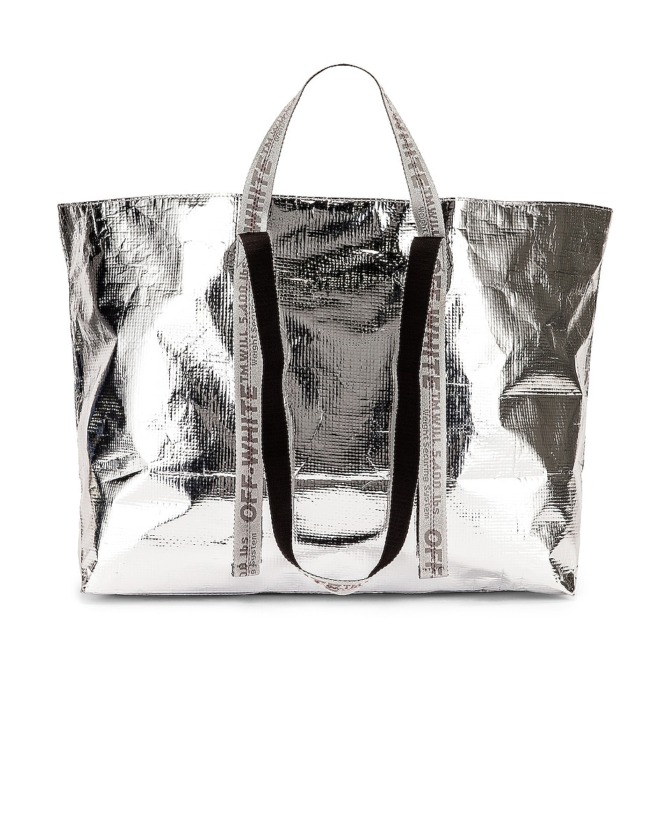 Image 2 of OFF-WHITE New Commercial Tote Bag in Silver & White