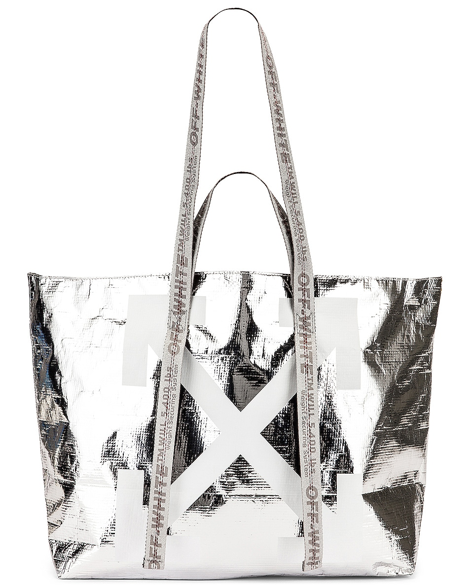 Image 5 of OFF-WHITE New Commercial Tote Bag in Silver & White