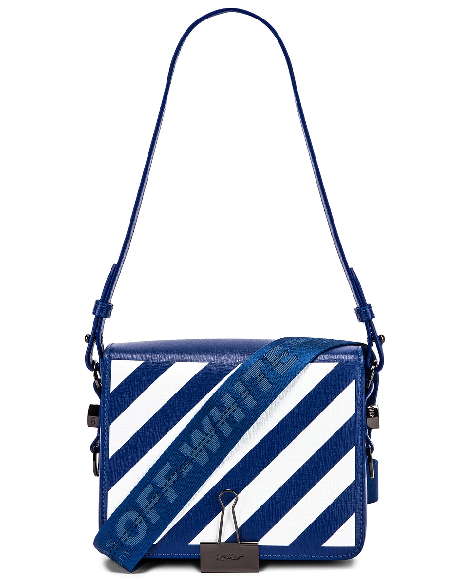 Image 1 of OFF-WHITE Diagonal Flap Bag in Blue & White