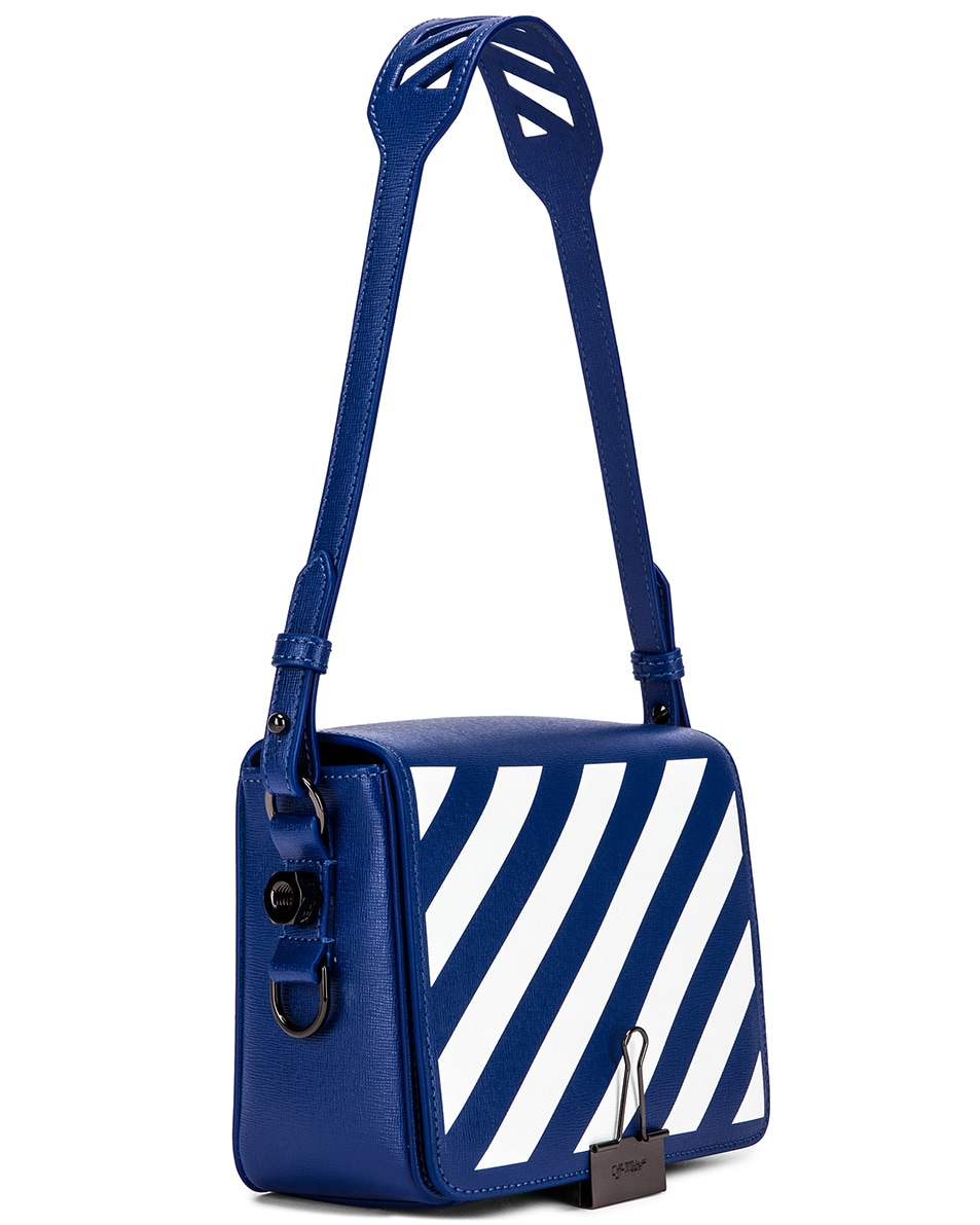 Image 4 of OFF-WHITE Diagonal Flap Bag in Blue & White