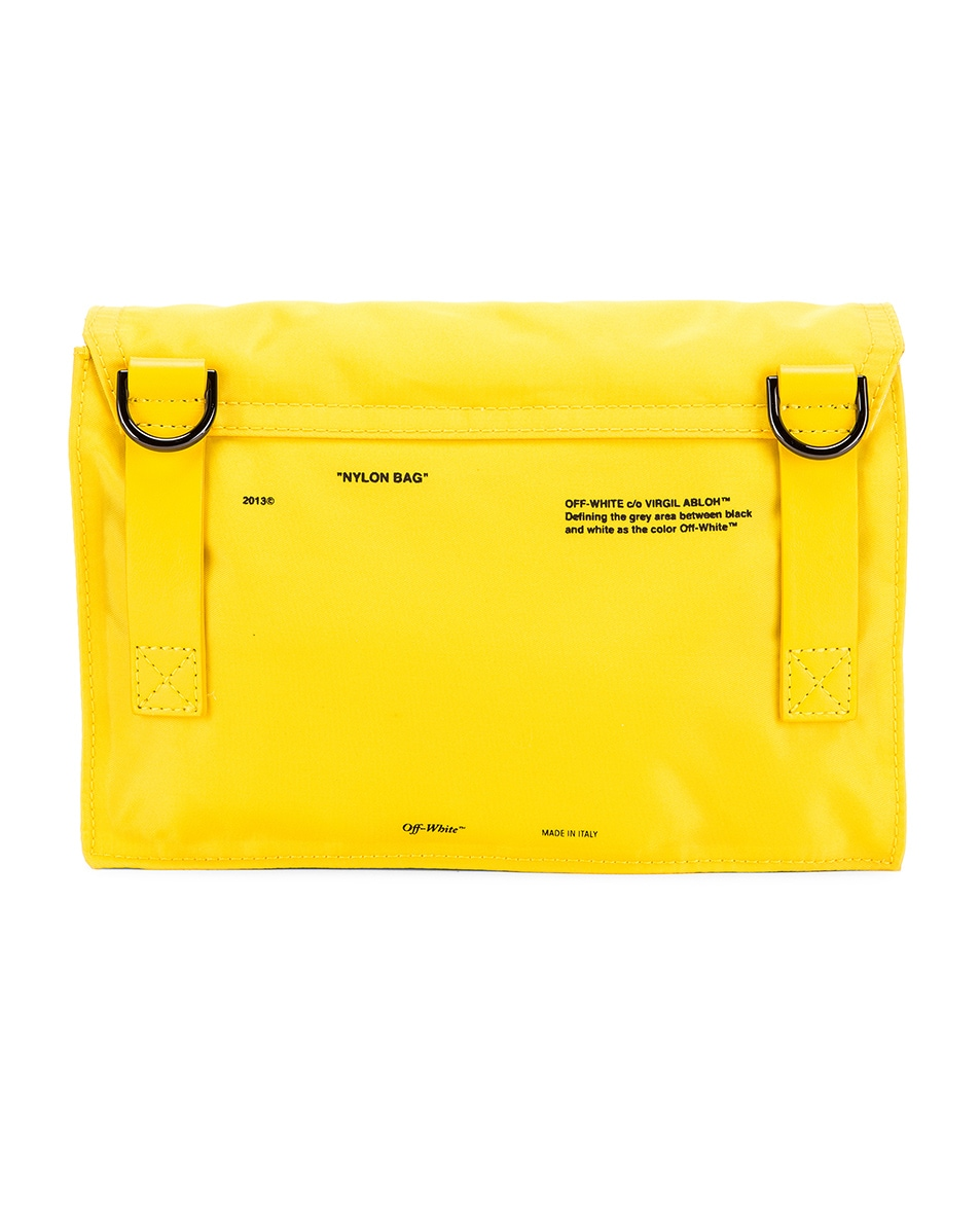 Image 3 of OFF-WHITE Nylon Zipped Flap Bag in Yellow