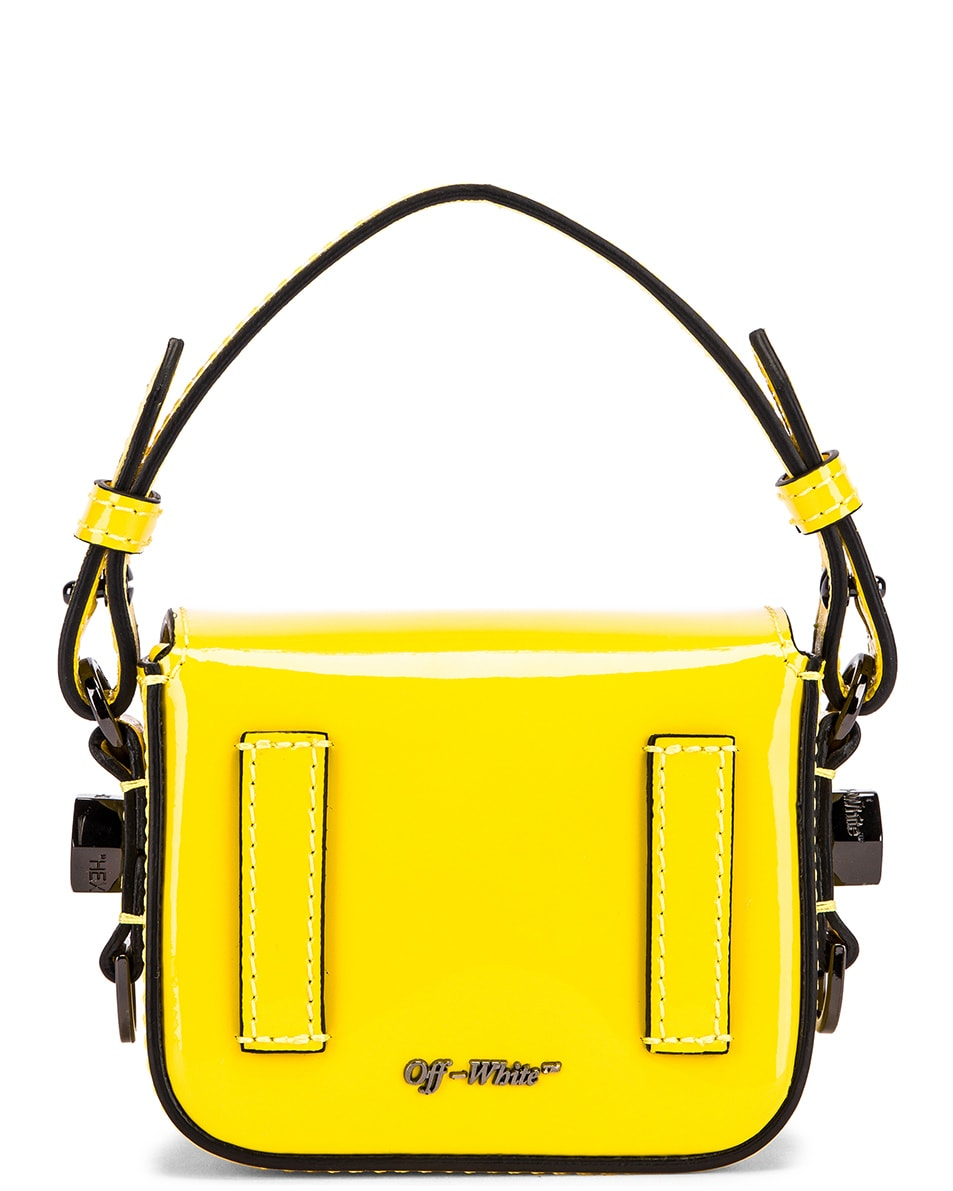 Image 3 of OFF-WHITE Patent Baby Flap Bag in Yellow & Black