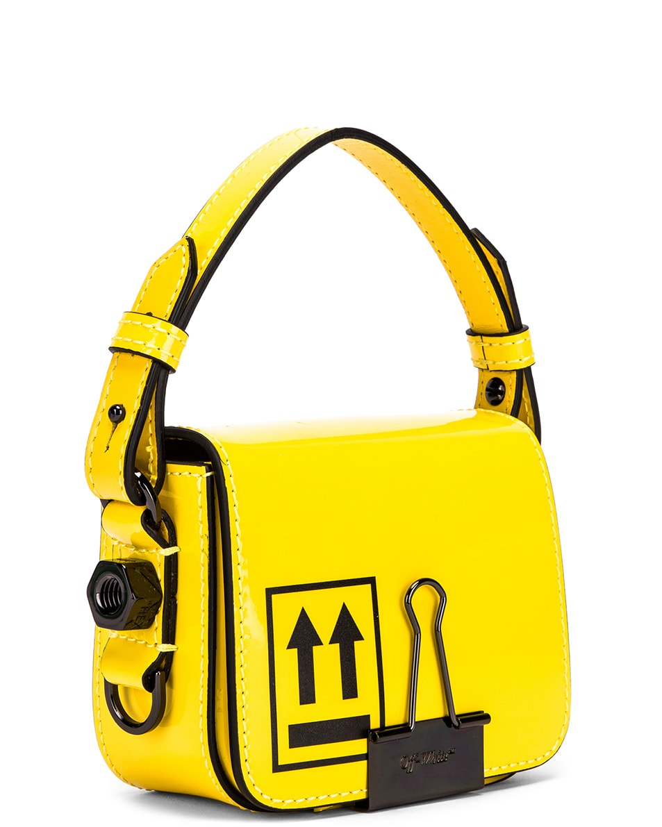 Image 4 of OFF-WHITE Patent Baby Flap Bag in Yellow & Black