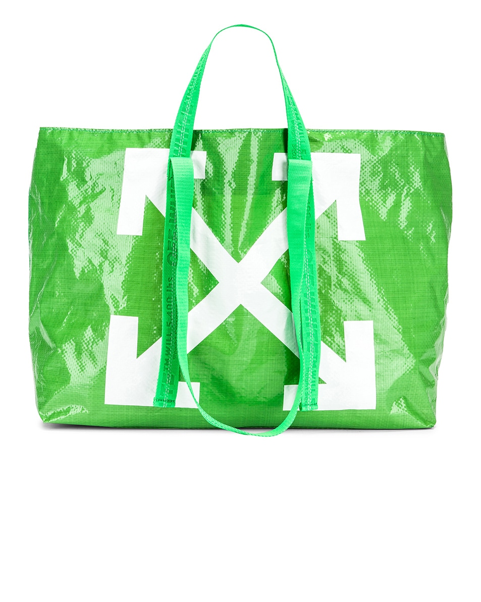 Image 1 of OFF-WHITE New Commercial Tote Bag in Green & White