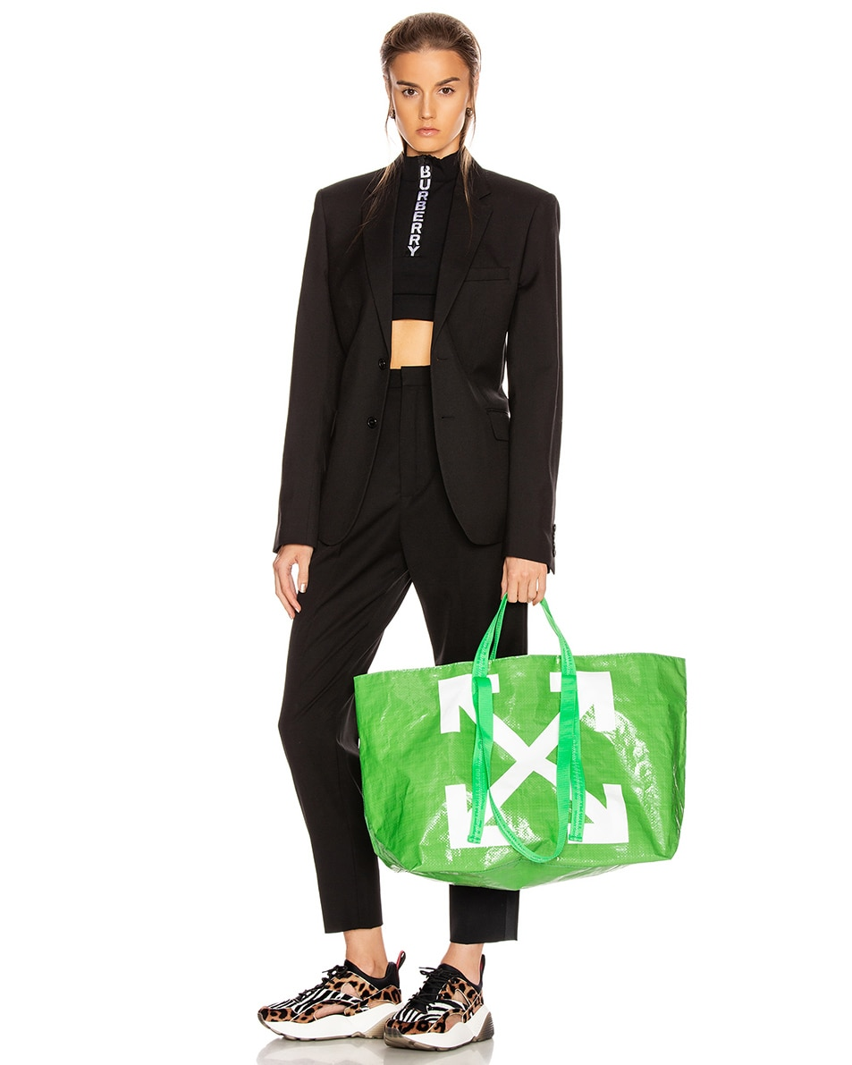 Image 2 of OFF-WHITE New Commercial Tote Bag in Green & White