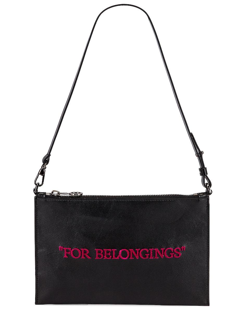 Image 1 of OFF-WHITE Flat Pochette Bag in Black & Fuchsia