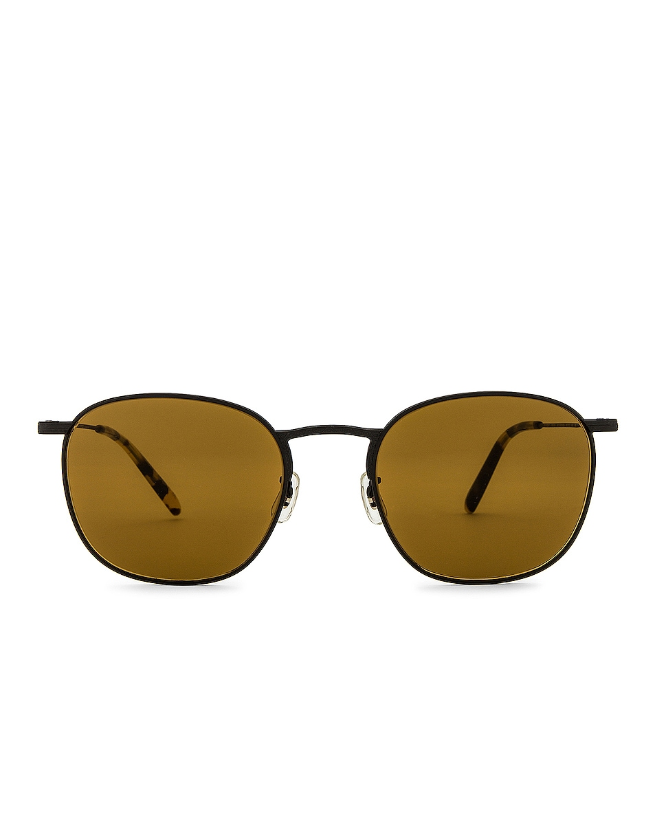 Image 1 of Oliver Peoples Golden Sun Sunglasses in Matte Black & True Brown