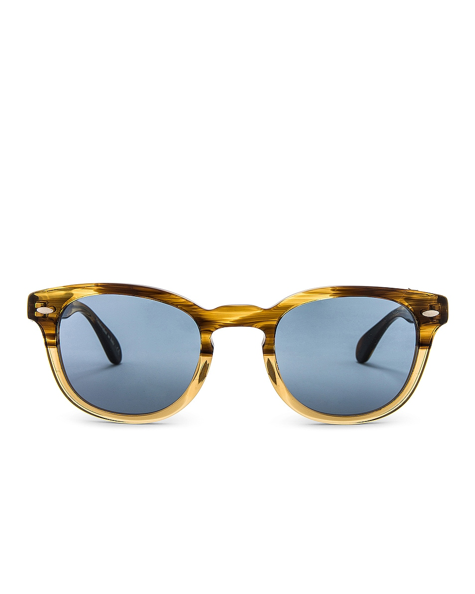 Image 1 of Oliver Peoples Sheldrake Sunglasses in Canarywood Gradient & Cobalto